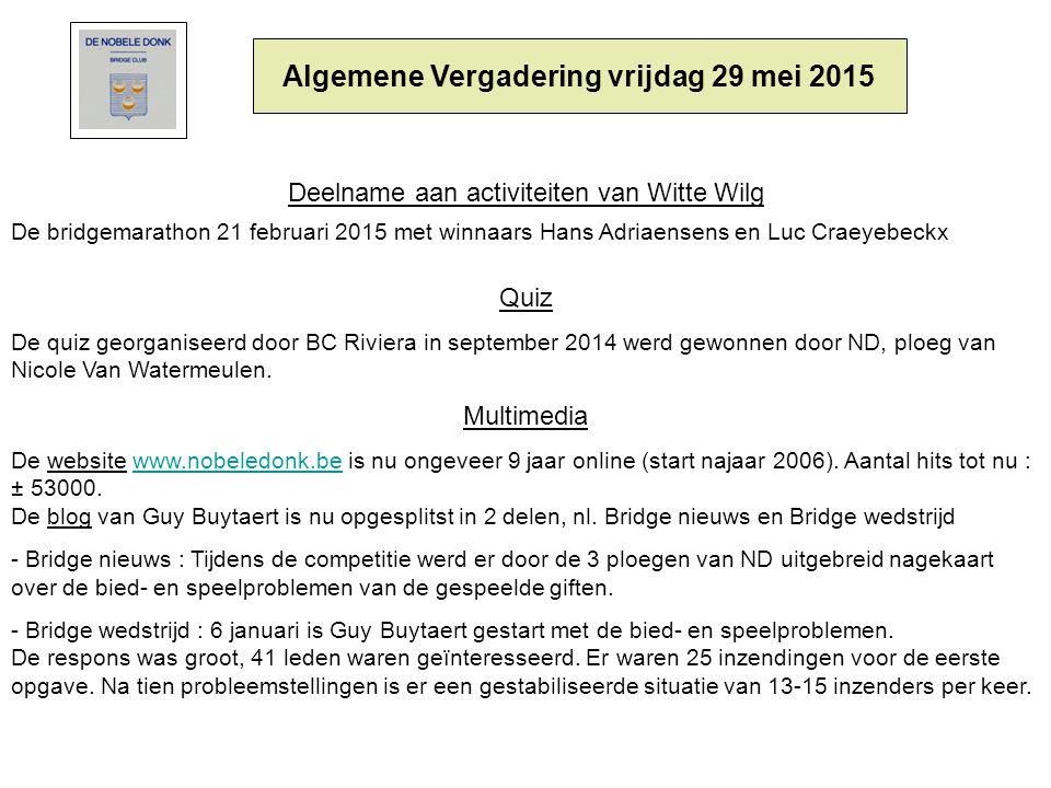 Algemene Vergadering vrijdag 29 mei 2015 Deelname aan activiteiten van Witte Wilg De bridgemarathon 21 februari 2015 met winnaars Hans Adriaensens en Luc Craeyebeckx Quiz De quiz georganiseerd door BC Riviera in september 2014 werd gewonnen door ND, ploeg van Nicole Van Watermeulen.