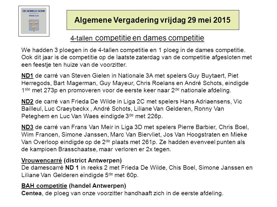 4-tallen competitie en dames competitie We hadden 3 ploegen in de 4-tallen competitie en 1 ploeg in de dames competitie.