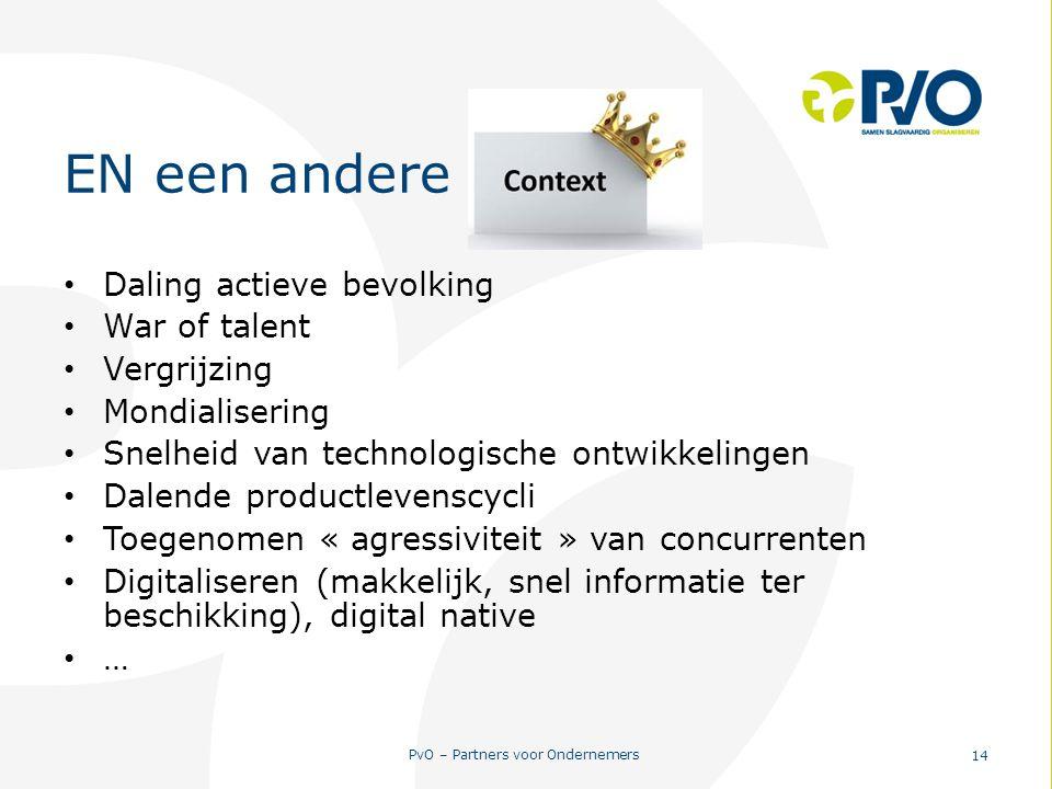 PvO – Partners voor Ondernemers 14 EN een andere context Daling actieve bevolking War of talent Vergrijzing Mondialisering Snelheid van technologische