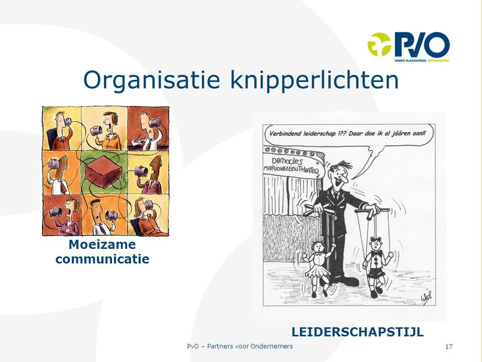 PvO – Partners voor Ondernemers 17 Organisatie knipperlichten Moeizame communicatie LEIDERSCHAPSTIJL