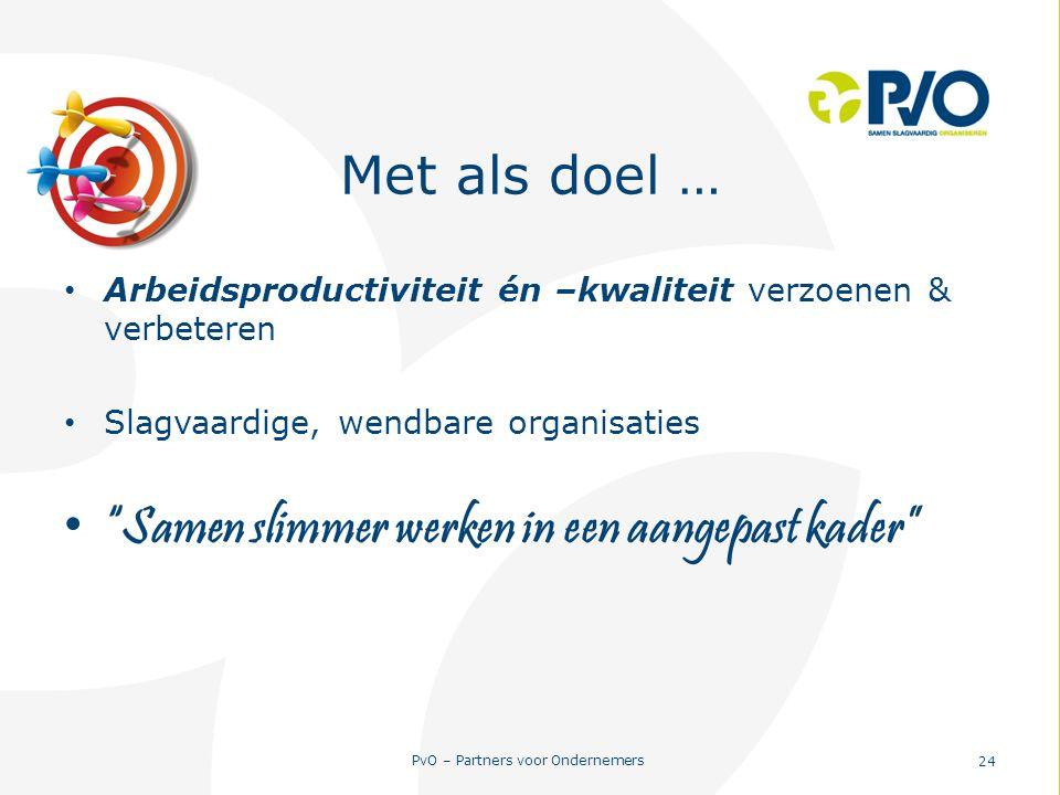 """PvO – Partners voor Ondernemers 24 Met als doel … Arbeidsproductiviteit én –kwaliteit verzoenen & verbeteren Slagvaardige, wendbare organisaties """"Same"""