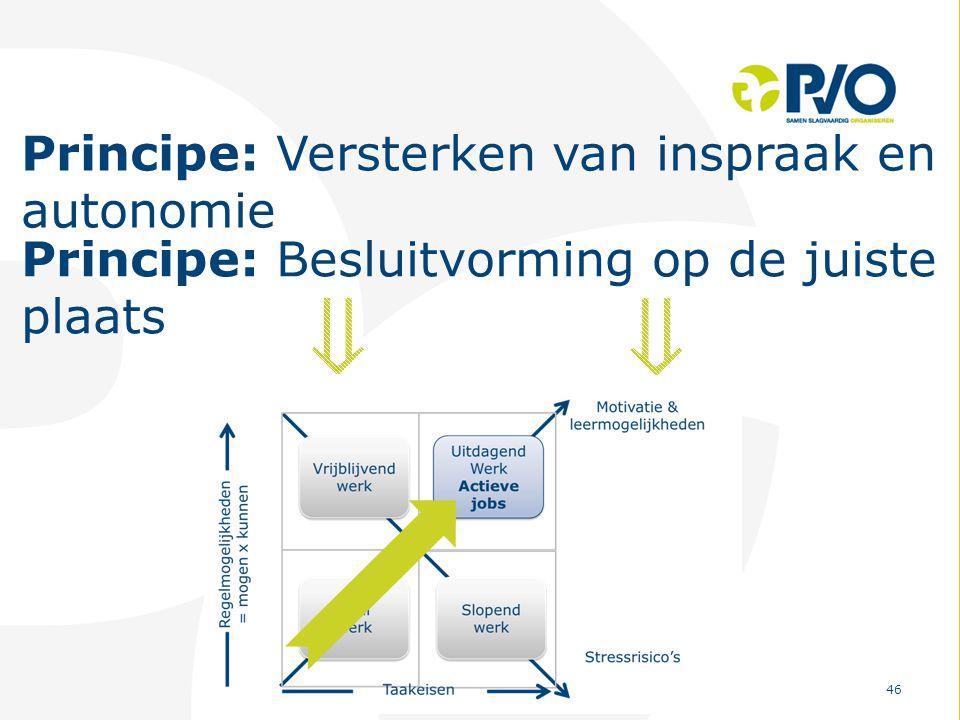 PvO – Partners voor Ondernemers 46 Principe: Versterken van inspraak en autonomie Principe: Besluitvorming op de juiste plaats