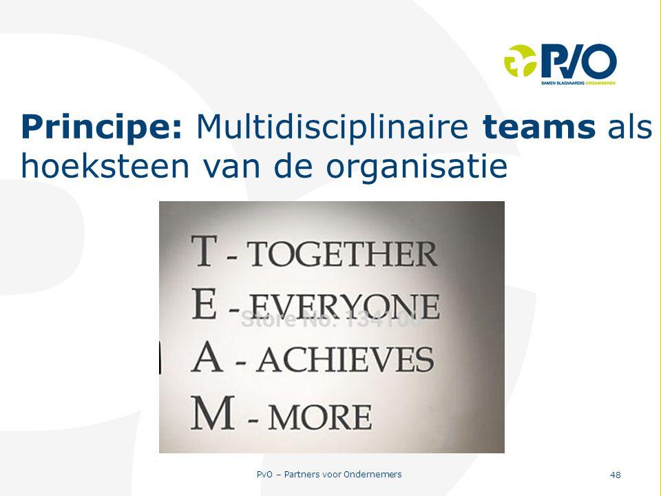 PvO – Partners voor Ondernemers 48 Principe: Multidisciplinaire teams als hoeksteen van de organisatie