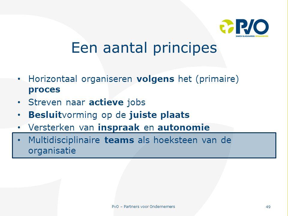 PvO – Partners voor Ondernemers 49 Een aantal principes Horizontaal organiseren volgens het (primaire) proces Streven naar actieve jobs Besluitvorming