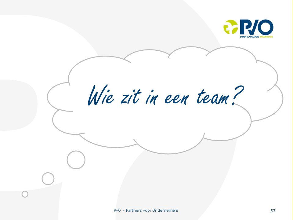 PvO – Partners voor Ondernemers 53 Wie zit in een team?