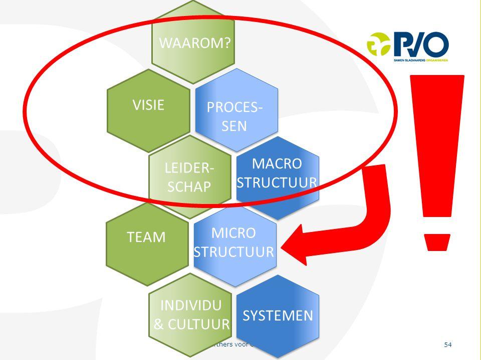 PvO – Partners voor Ondernemers 54 VISIE PROCES- SEN MACRO STRUCTUUR LEIDER- SCHAP MICRO STRUCTUUR TEAM SYSTEMEN INDIVIDU & CULTUUR WAAROM?