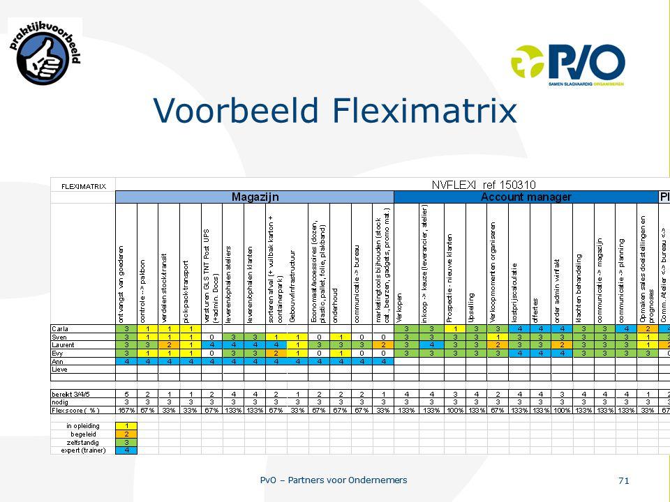 PvO – Partners voor Ondernemers 71 PvO – Partners voor Ondernemers 71 Voorbeeld Fleximatrix