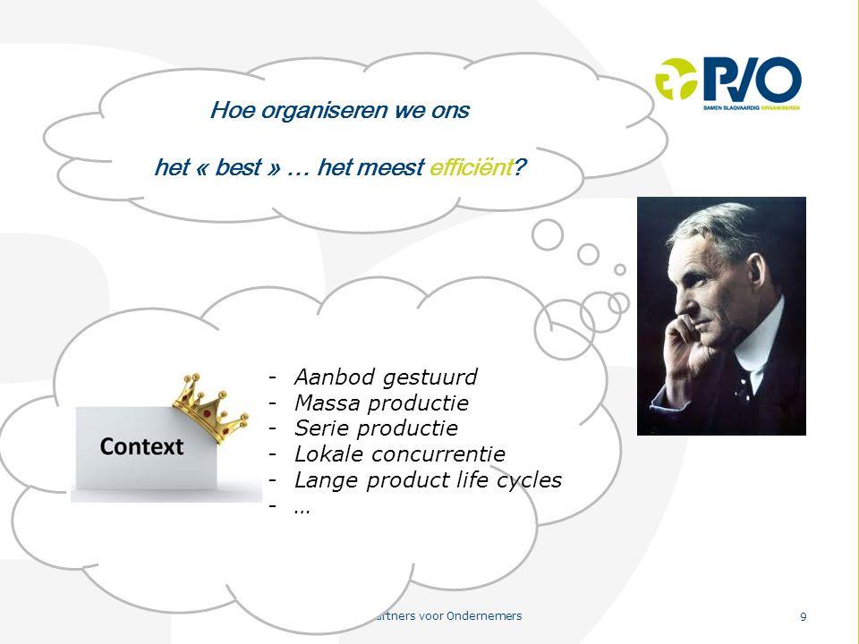 PvO – Partners voor Ondernemers 9 Hoe organiseren we ons het « best » … het meest efficiënt? -Aanbod gestuurd -Massa productie -Serie productie -Lokal
