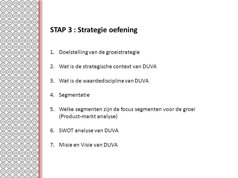 STAP 3 : Strategie oefening 1.Doelstelling van de groeistrategie 2.Wat is de strategische context van DUVA 3.Wat is de waardediscipline van DUVA 4.Seg