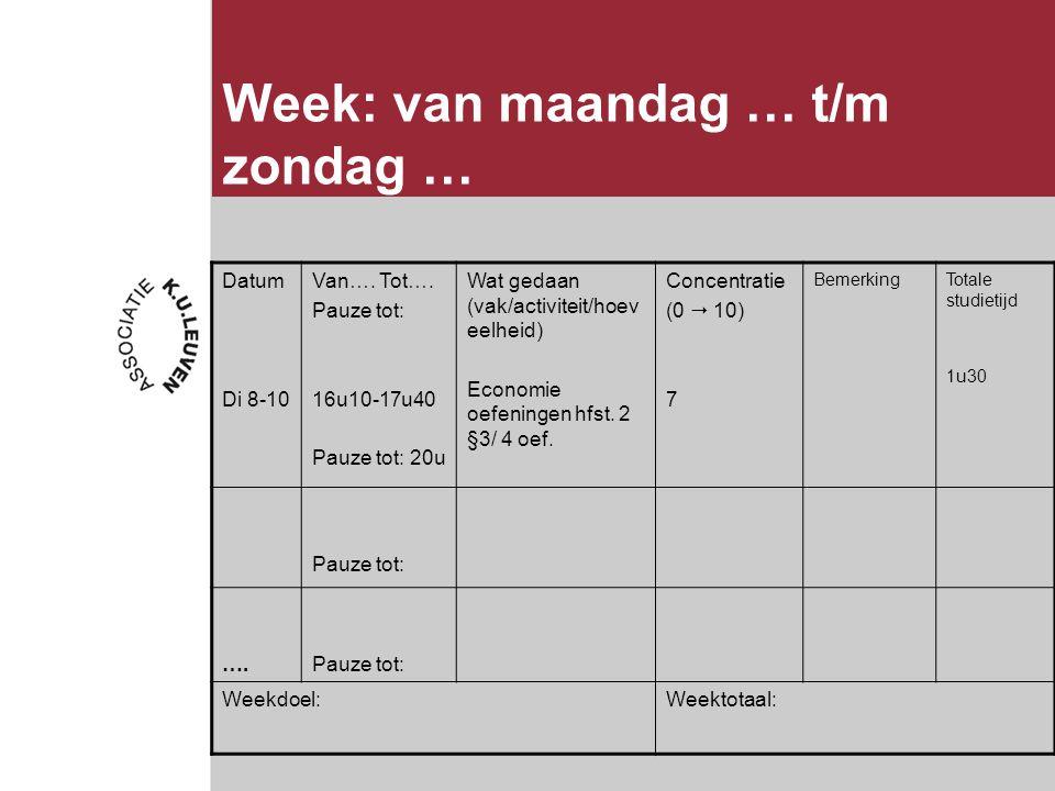 Week: van maandag … t/m zondag … Datum Di 8-10 Van….