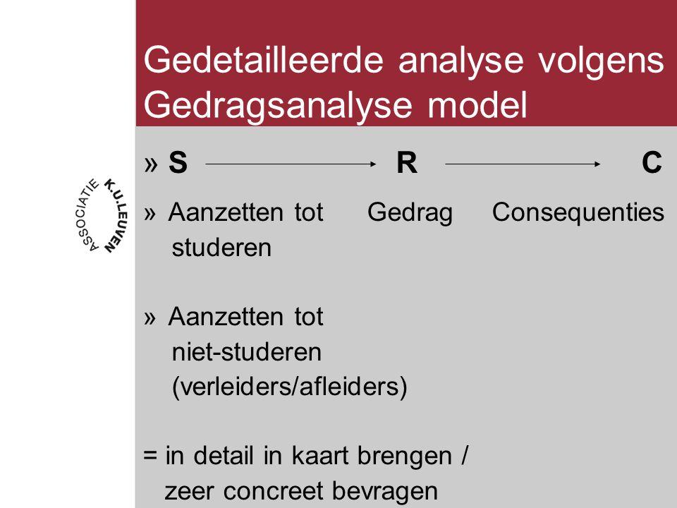 Gedetailleerde analyse volgens Gedragsanalyse model »S R C »Aanzetten tot Gedrag Consequenties studeren »Aanzetten tot niet-studeren (verleiders/afleiders) = in detail in kaart brengen / zeer concreet bevragen