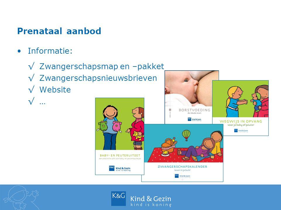 Prenataal aanbod Informatie: √Zwangerschapsmap en –pakket √Zwangerschapsnieuwsbrieven √Website √…