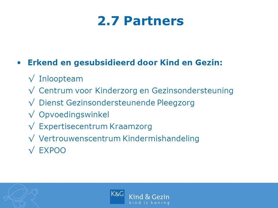 2.7 Partners Erkend en gesubsidieerd door Kind en Gezin: √Inloopteam √Centrum voor Kinderzorg en Gezinsondersteuning √Dienst Gezinsondersteunende Plee