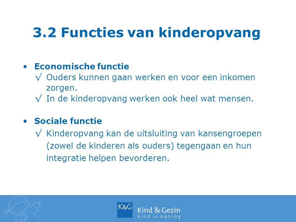 3.2 Functies van kinderopvang Economische functie √Ouders kunnen gaan werken en voor een inkomen zorgen. √In de kinderopvang werken ook heel wat mense
