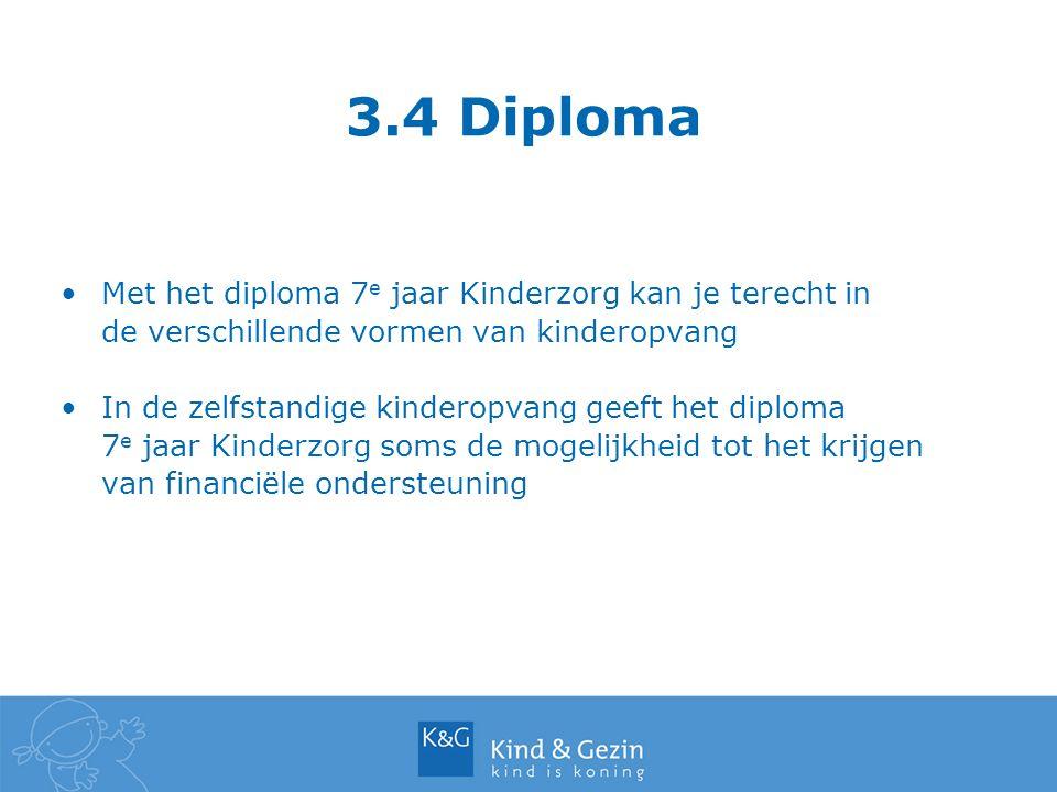 3.4 Diploma Met het diploma 7 e jaar Kinderzorg kan je terecht in de verschillende vormen van kinderopvang In de zelfstandige kinderopvang geeft het d