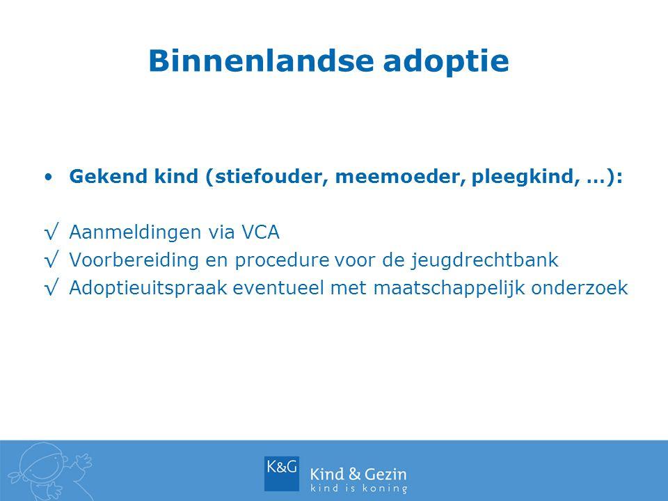 Gekend kind (stiefouder, meemoeder, pleegkind, …): √Aanmeldingen via VCA √Voorbereiding en procedure voor de jeugdrechtbank √Adoptieuitspraak eventuee