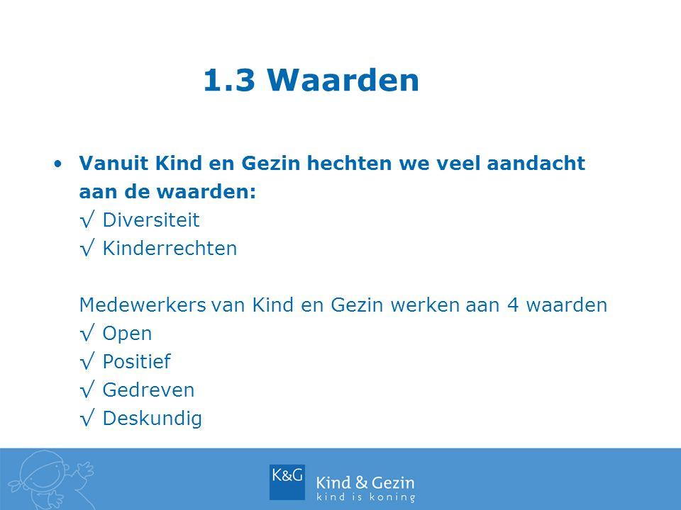 1.3 Waarden Vanuit Kind en Gezin hechten we veel aandacht aan de waarden: √Diversiteit √Kinderrechten Medewerkers van Kind en Gezin werken aan 4 waard