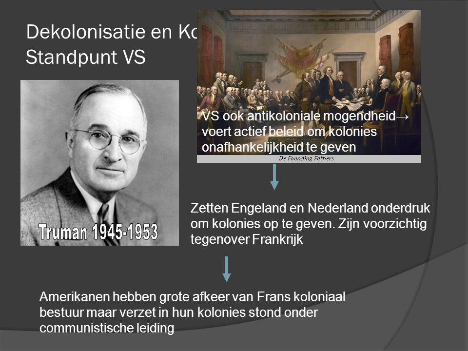 Dekolonisatie en Koude Oorlog; Standpunt VS VS ook antikoloniale mogendheid→ voert actief beleid om kolonies onafhankelijkheid te geven Zetten Engelan