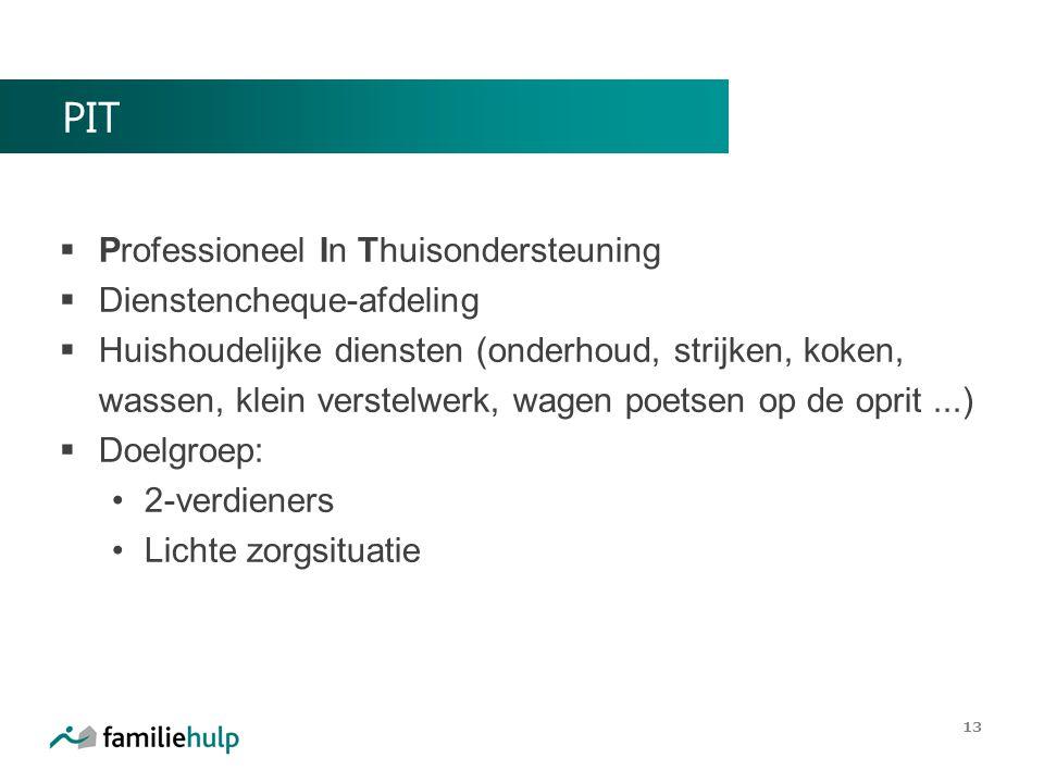 PIT  Professioneel In Thuisondersteuning  Dienstencheque-afdeling  Huishoudelijke diensten (onderhoud, strijken, koken, wassen, klein verstelwerk,