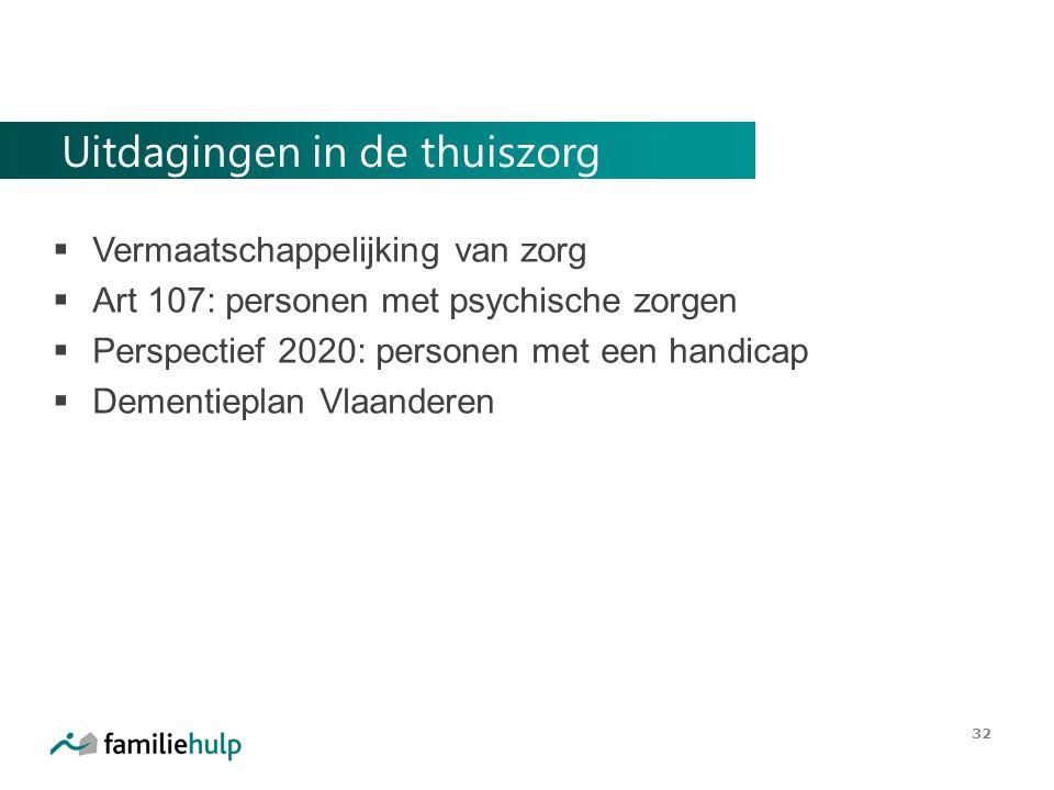 Uitdagingen in de thuiszorg  Vermaatschappelijking van zorg  Art 107: personen met psychische zorgen  Perspectief 2020: personen met een handicap  Dementieplan Vlaanderen 32