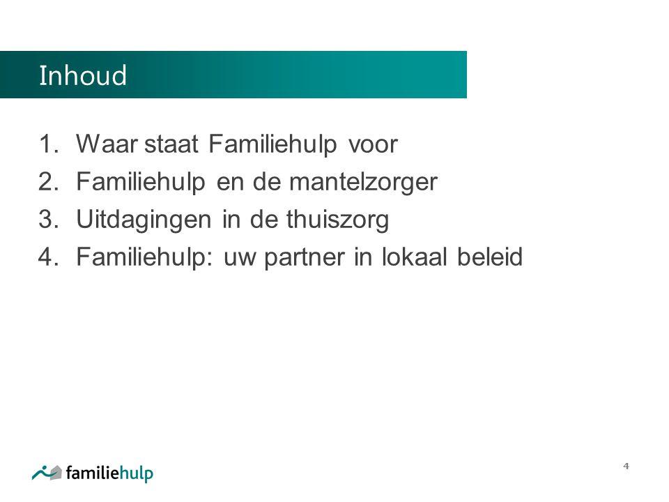 Inhoud 1. Waar staat Familiehulp voor 2. Familiehulp en de mantelzorger 3. Uitdagingen in de thuiszorg 4. Familiehulp: uw partner in lokaal beleid 4