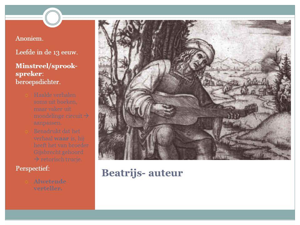 Beatrijs- auteur Anoniem. Leefde in de 13 eeuw. Minstreel/sprook- spreker: beroepsdichter.  Haalde verhalen soms uit boeken, maar vaker uit mondeling