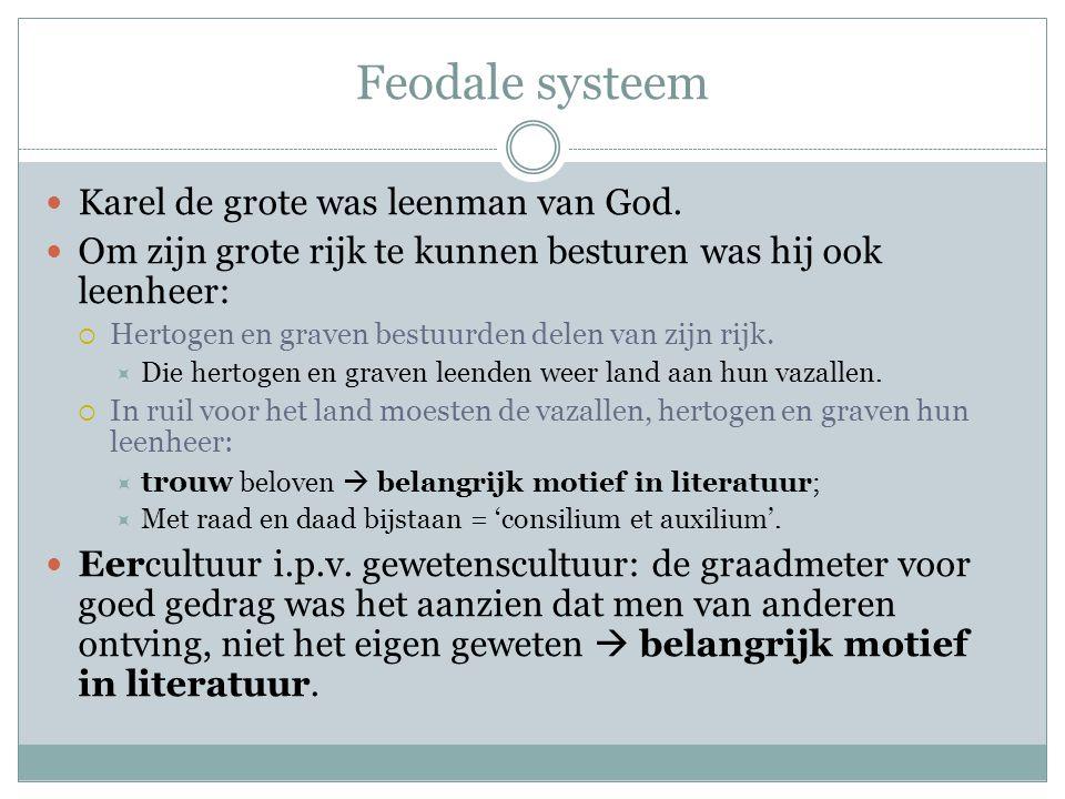 Dus … Door het feodale systeem in de middel- eeuwen waren  trouw en  eer belangrijke motieven in de literatuur.