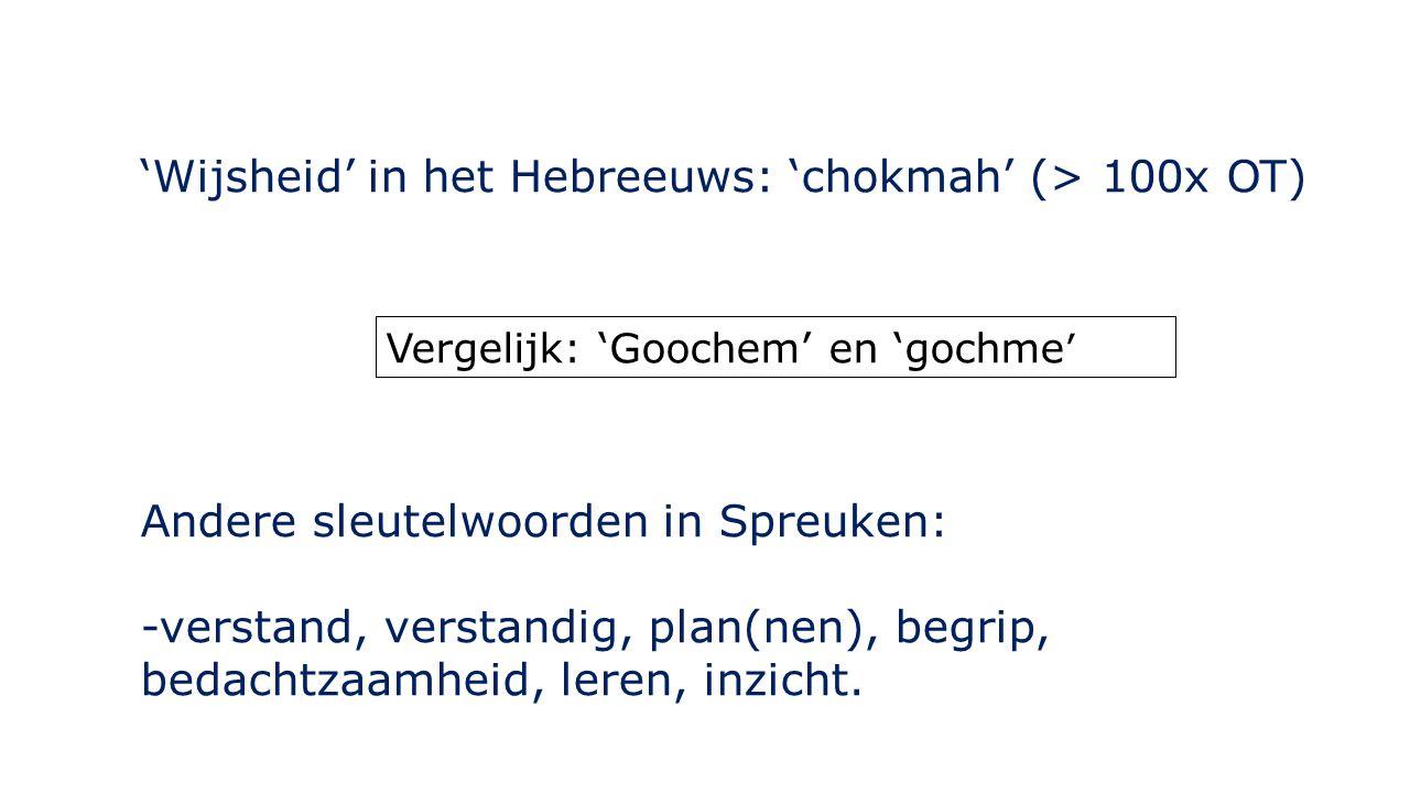 'Wijsheid' in het Hebreeuws: 'chokmah' (> 100x OT) Vergelijk: 'Goochem' en 'gochme ' Andere sleutelwoorden in Spreuken: -verstand, verstandig, plan(ne