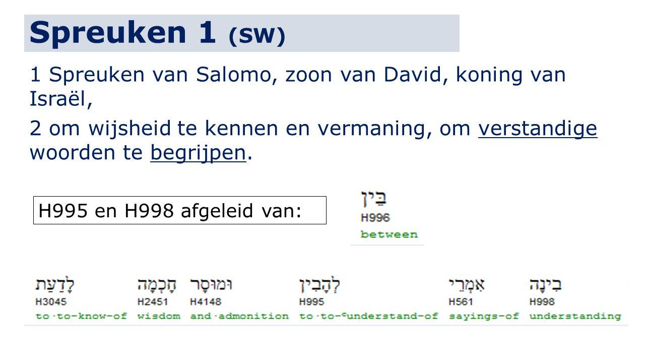 Spreuken 1 (SW) 1 Spreuken van Salomo, zoon van David, koning van Israël, 2 om wijsheid te kennen en vermaning, om verstandige woorden te begrijpen. H