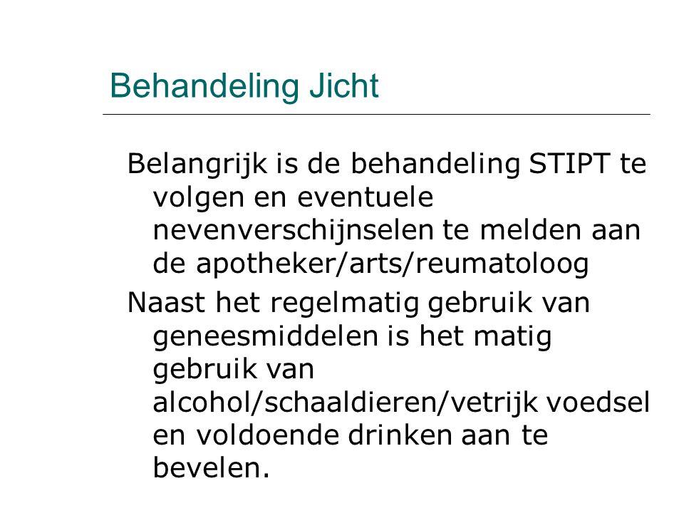 Behandeling Jicht Belangrijk is de behandeling STIPT te volgen en eventuele nevenverschijnselen te melden aan de apotheker/arts/reumatoloog Naast het