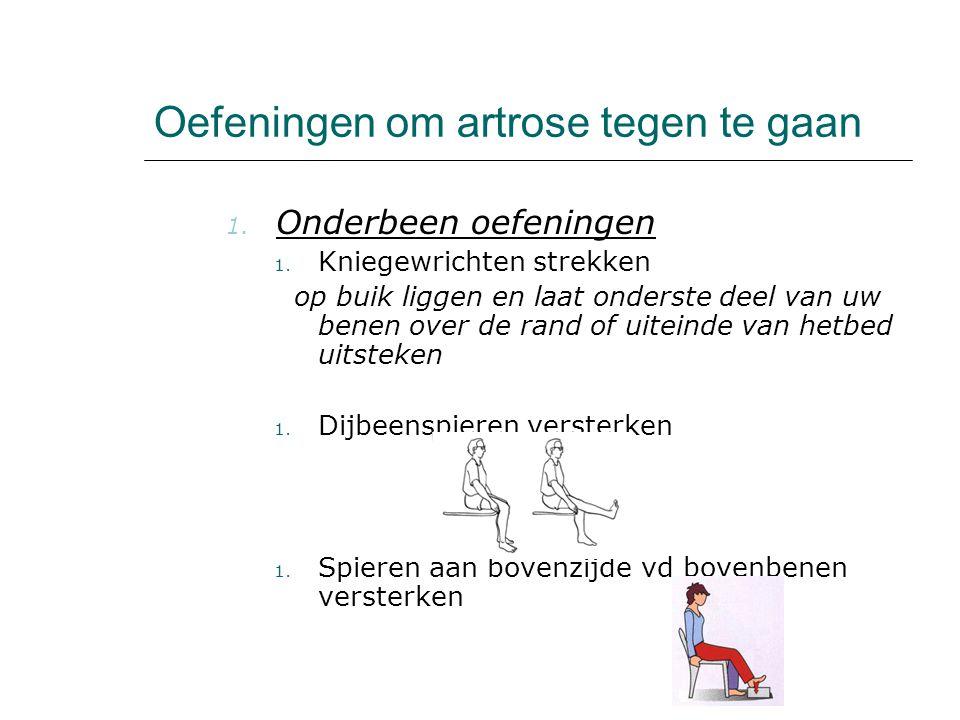 Oefeningen om artrose tegen te gaan 1. Onderbeen oefeningen 1. Kniegewrichten strekken op buik liggen en laat onderste deel van uw benen over de rand