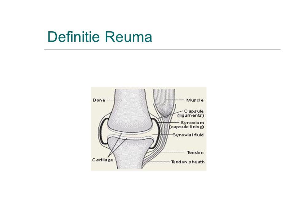 Definitie Reuma is een verzamelnaam voor niet minder dan 200 verschillende ziekten.