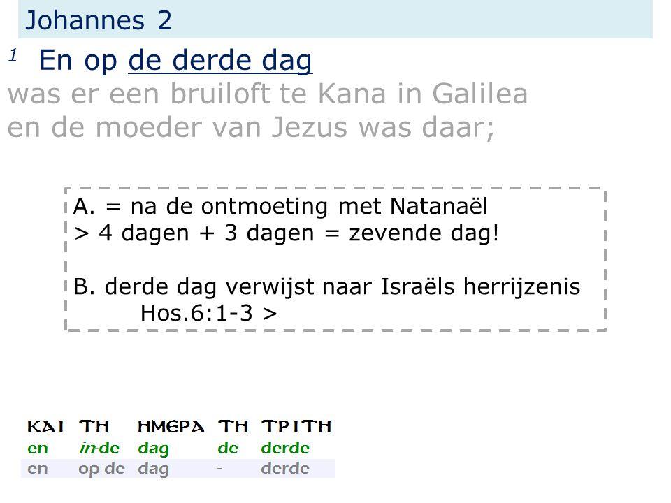 Johannes 2 1 En op de derde dag was er een bruiloft te Kana in Galilea en de moeder van Jezus was daar; A.