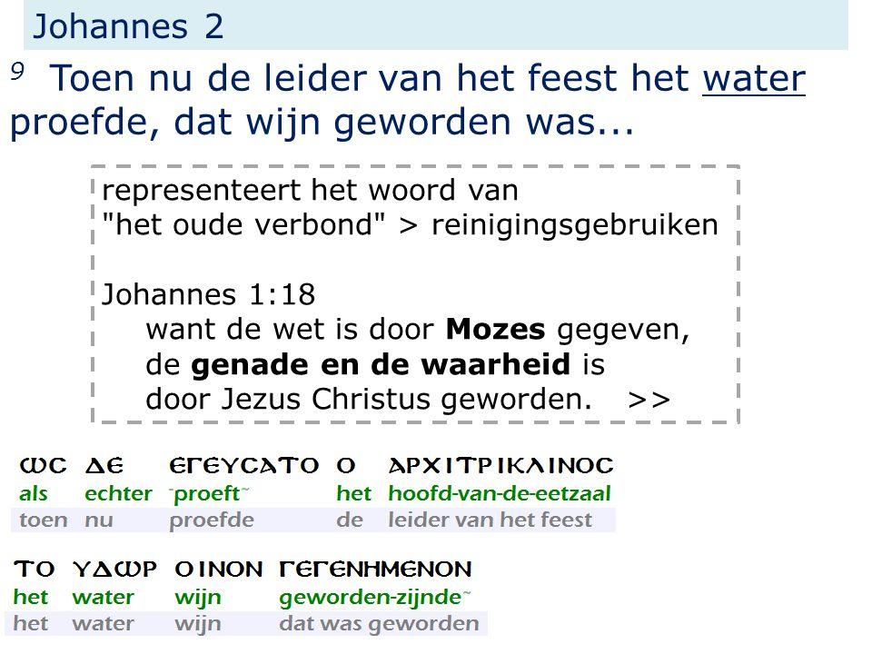 Johannes 2 9 Toen nu de leider van het feest het water proefde, dat wijn geworden was...