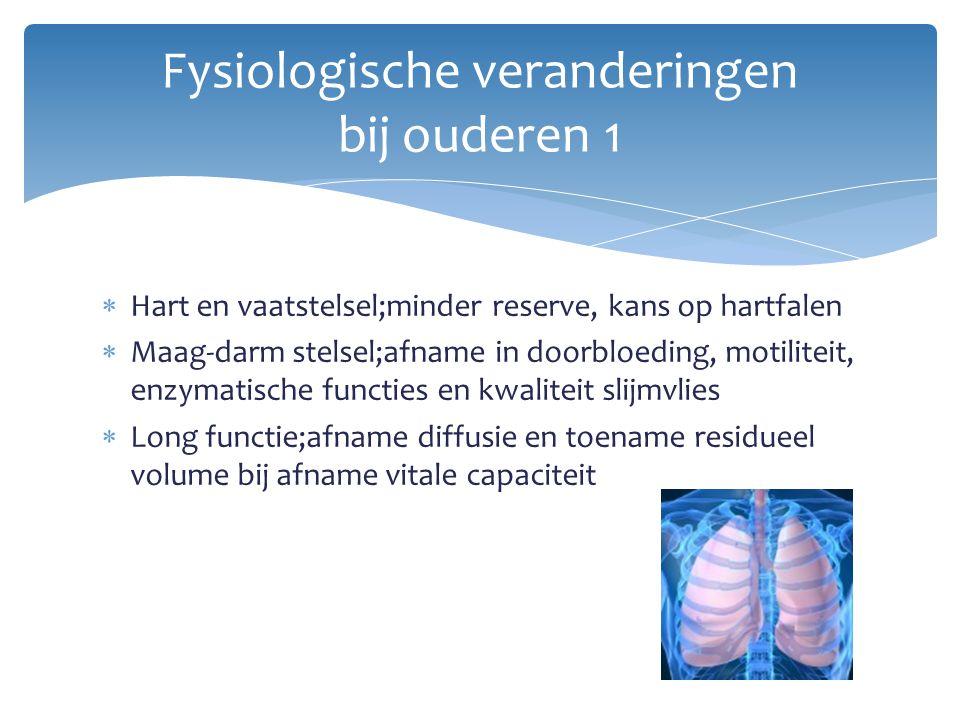  Hart en vaatstelsel;minder reserve, kans op hartfalen  Maag-darm stelsel;afname in doorbloeding, motiliteit, enzymatische functies en kwaliteit sli
