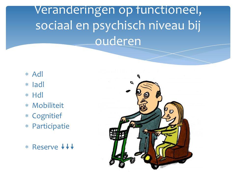  Adl  Iadl  Hdl  Mobiliteit  Cognitief  Participatie  Reserve  Veranderingen op functioneel, sociaal en psychisch niveau bij ouderen
