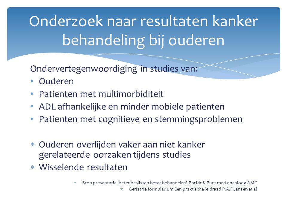 Ondervertegenwoordiging in studies van: Ouderen Patienten met multimorbiditeit ADL afhankelijke en minder mobiele patienten Patienten met cognitieve e