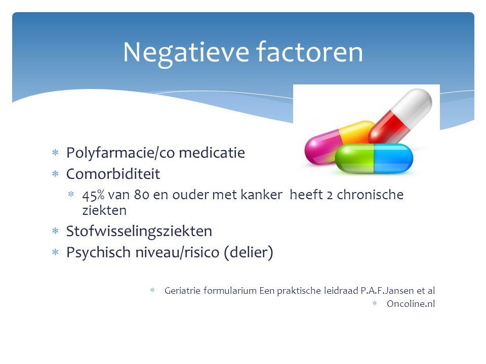  Polyfarmacie/co medicatie  Comorbiditeit  45% van 80 en ouder met kanker heeft 2 chronische ziekten  Stofwisselingsziekten  Psychisch niveau/ris