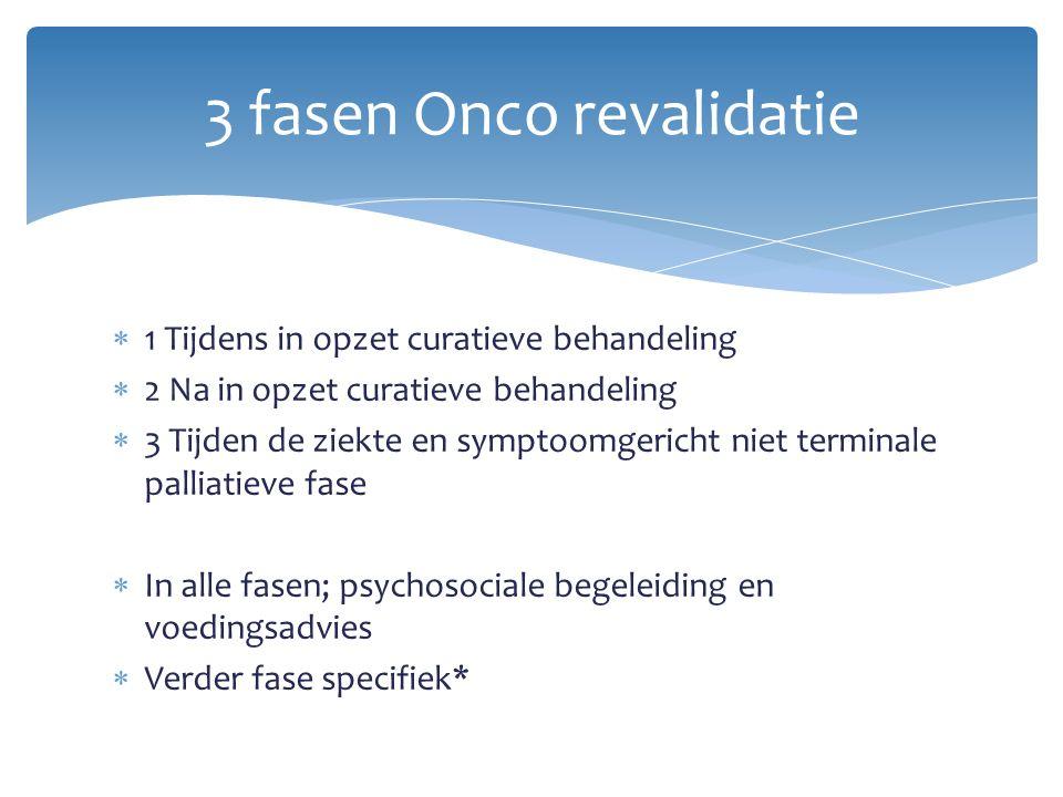  1 Tijdens in opzet curatieve behandeling  2 Na in opzet curatieve behandeling  3 Tijden de ziekte en symptoomgericht niet terminale palliatieve fa