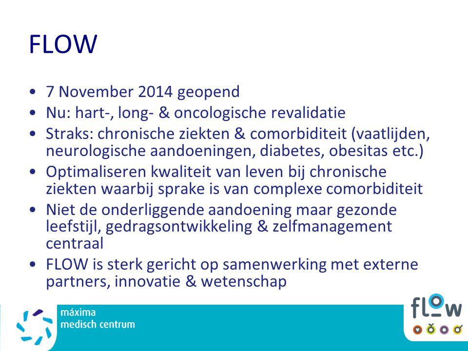 FLOW 7 November 2014 geopend Nu: hart-, long- & oncologische revalidatie Straks: chronische ziekten & comorbiditeit (vaatlijden, neurologische aandoen