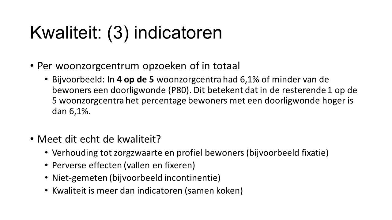 Kwaliteit: (3) indicatoren Per woonzorgcentrum opzoeken of in totaal Bijvoorbeeld: In 4 op de 5 woonzorgcentra had 6,1% of minder van de bewoners een doorligwonde (P80).