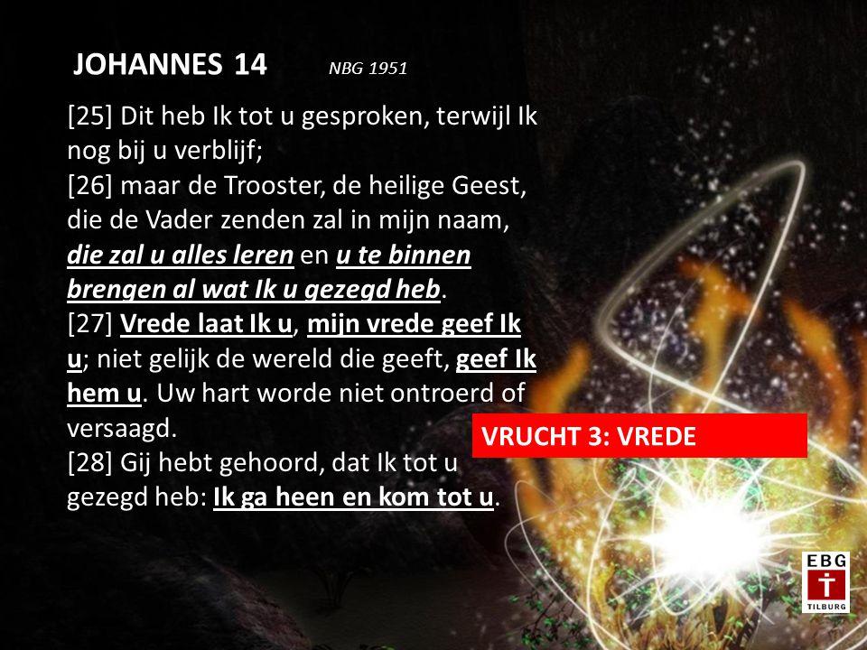 [25] Dit heb Ik tot u gesproken, terwijl Ik nog bij u verblijf; [26] maar de Trooster, de heilige Geest, die de Vader zenden zal in mijn naam, die zal