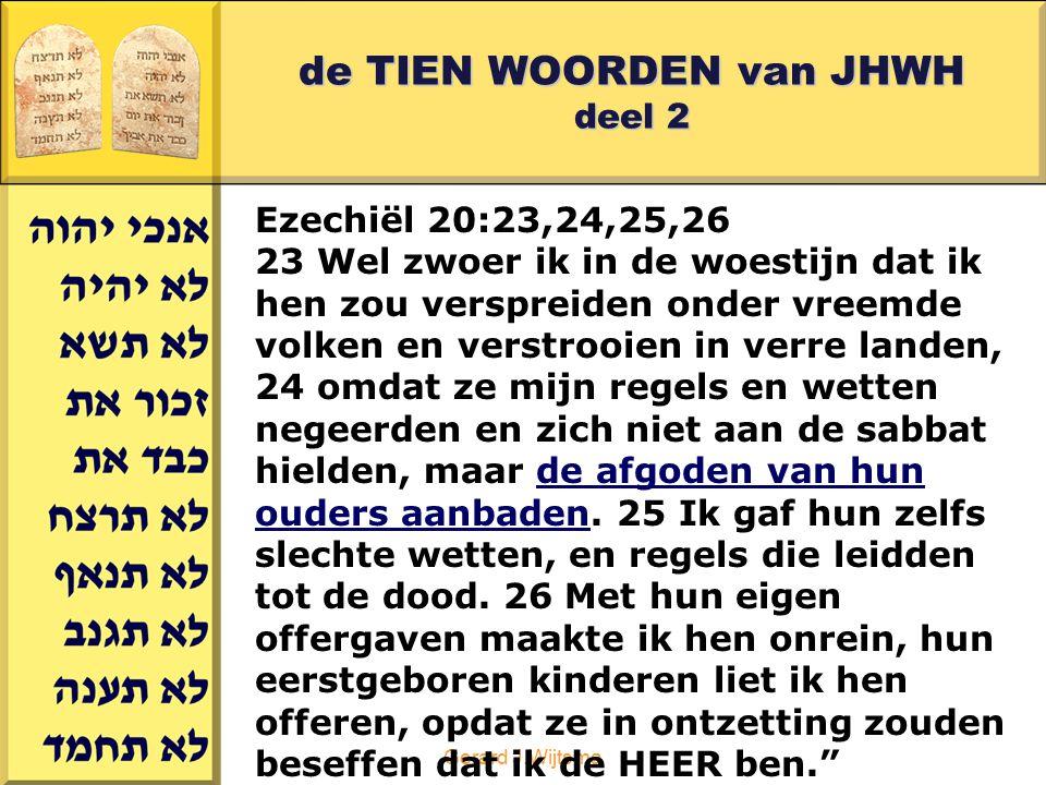 Gerard J.Wijtsma de TIEN WOORDEN van JHWH deel 2 Ezechiël 20:23,24,25,26 23 Wel zwoer ik in de woestijn dat ik hen zou verspreiden onder vreemde volke