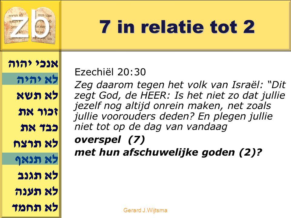 """Gerard J.Wijtsma 7 in relatie tot 2 Ezechiël 20:30 Zeg daarom tegen het volk van Israël: """"Dit zegt God, de HEER: Is het niet zo dat jullie jezelf nog"""