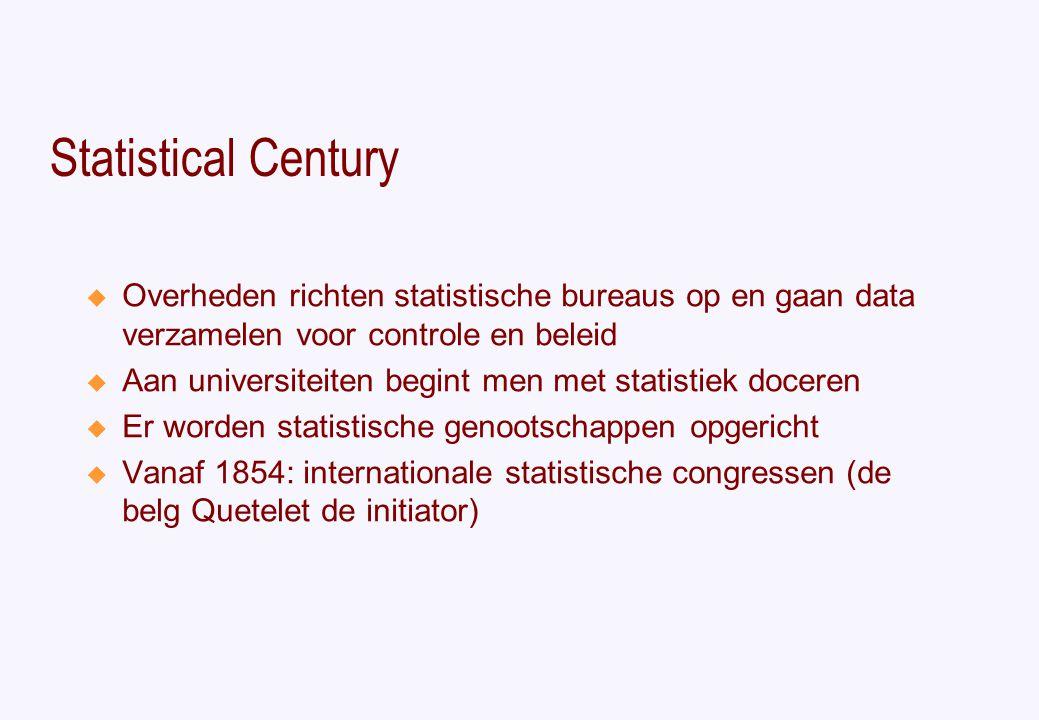 Statistical Century  Overheden richten statistische bureaus op en gaan data verzamelen voor controle en beleid  Aan universiteiten begint men met statistiek doceren  Er worden statistische genootschappen opgericht  Vanaf 1854: internationale statistische congressen (de belg Quetelet de initiator)
