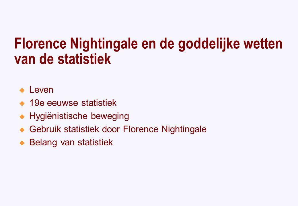 Florence Nightingale en de goddelijke wetten van de statistiek  Leven  19e eeuwse statistiek  Hygiënistische beweging  Gebruik statistiek door Florence Nightingale  Belang van statistiek