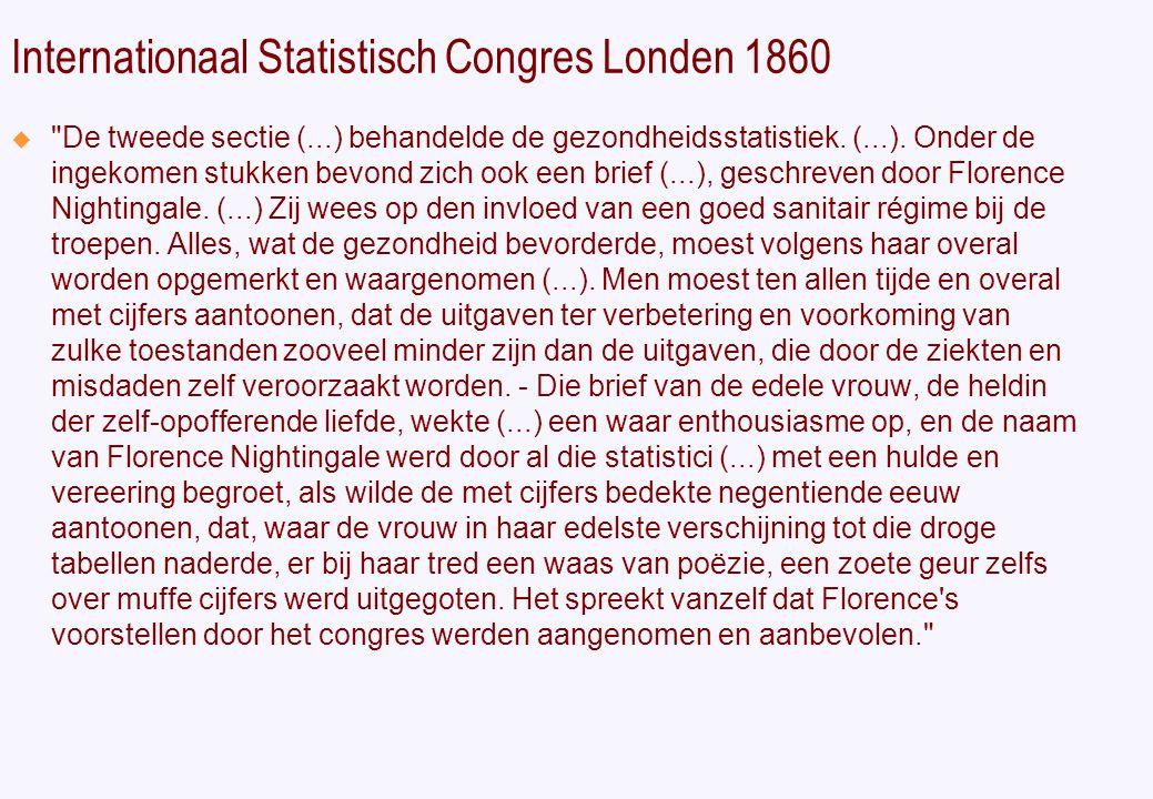 Internationaal Statistisch Congres Londen 1860  De tweede sectie (...) behandelde de gezondheidsstatistiek.