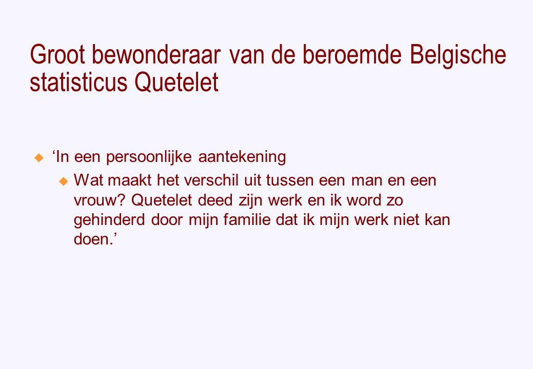 Groot bewonderaar van de beroemde Belgische statisticus Quetelet  'In een persoonlijke aantekening u Wat maakt het verschil uit tussen een man en een vrouw.