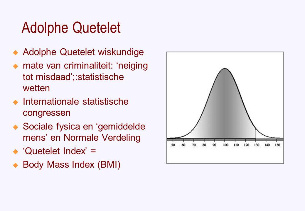 Adolphe Quetelet  Adolphe Quetelet wiskundige  mate van criminaliteit: 'neiging tot misdaad';:statistische wetten  Internationale statistische congressen  Sociale fysica en 'gemiddelde mens' en Normale Verdeling  'Quetelet Index' =  Body Mass Index (BMI)