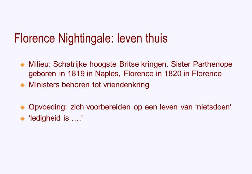 Florence Nightingale: leven thuis  Milieu: Schatrijke hoogste Britse kringen.